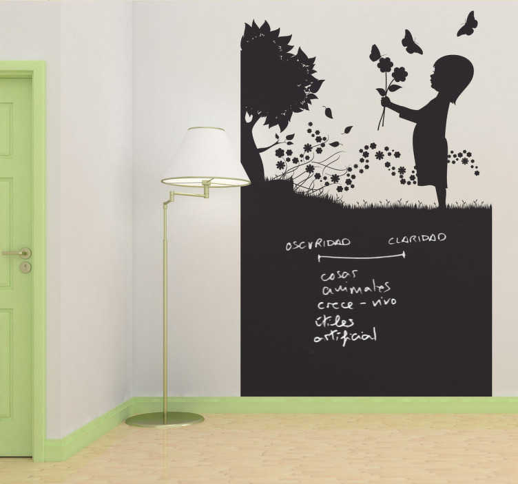 TenStickers. Little Girl In The Meadow Blackboard Sticker. Blackboard Sticker - Chalkboard vinyl design of a little child playing outside among the nature. Ideal for decorating any room.