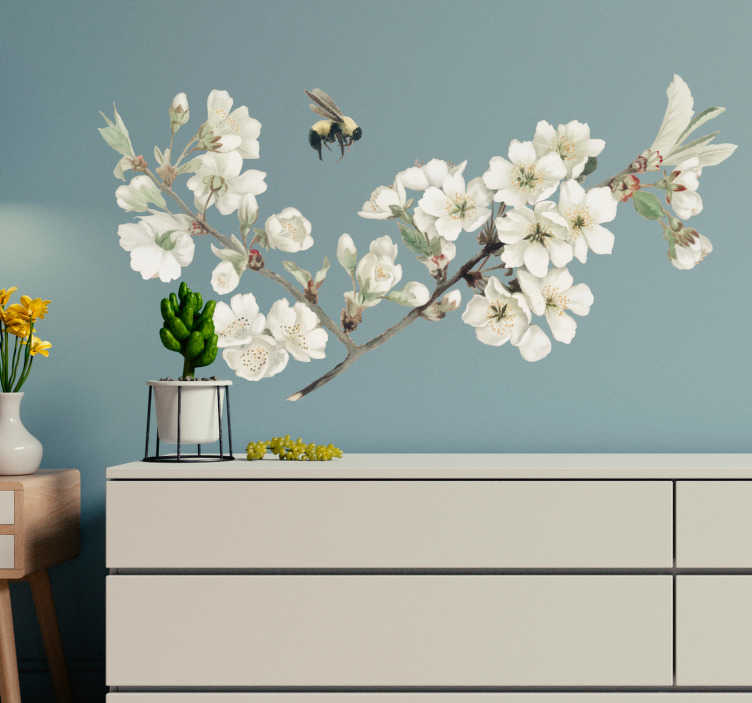 TenStickers. first spring flower flower wall decal. Decorative first spring flower wall art sticker with insect. Easy to apply and available in different size options. Self adhesive and durable.