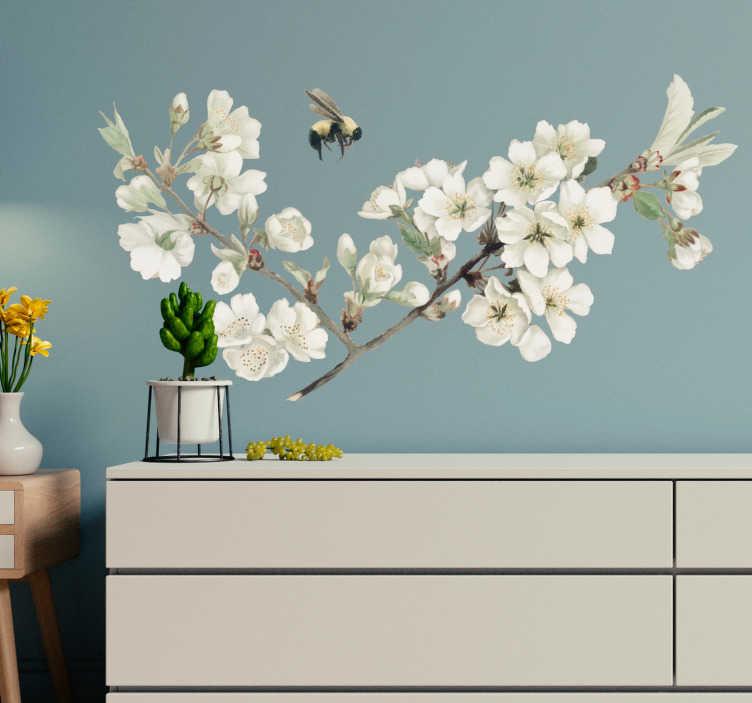 TenStickers. Muurstickers slaapkamer witte lentebloem. Unieke Lentebloem muurstickers: lente sticker, bloem sticker, lente muursticker, witte bloem sticker of witte bloem muursticker, heel veel keuzes!
