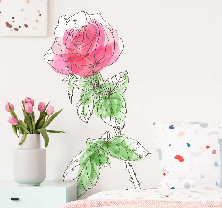 TenStickers. watercolor rose flower wall decal. Decorative watercolor flower wall sticker to decorate home and event places. Easy to apply, self adhesive and available in any required size.