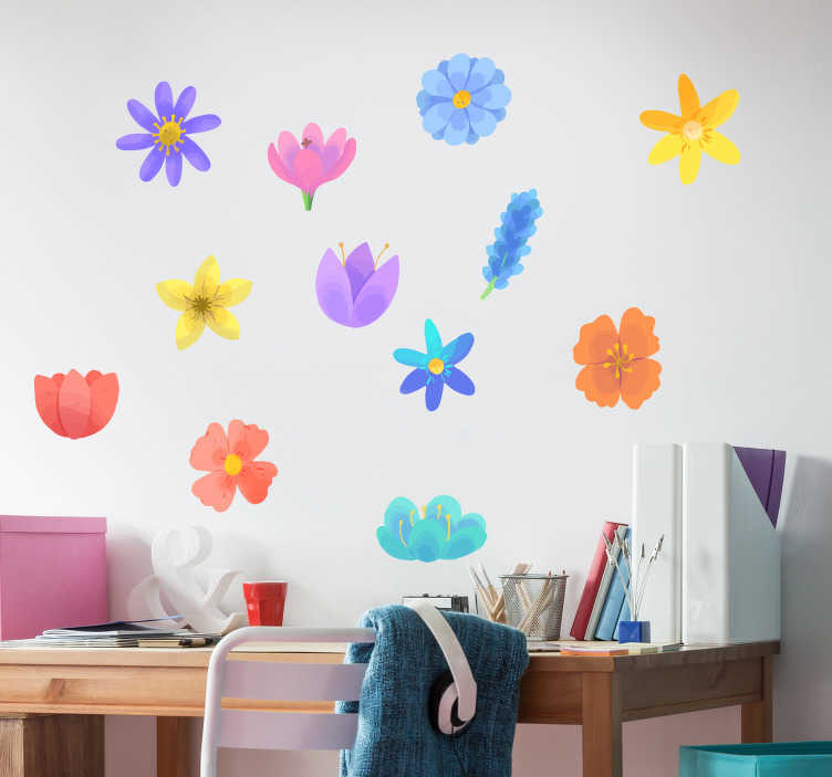 TenStickers. spring flower set flower wall decal. Decorative spring flower wall art decal designed in pretty colours and style patterns. Easy to apply, adhesive and available in different sizes.