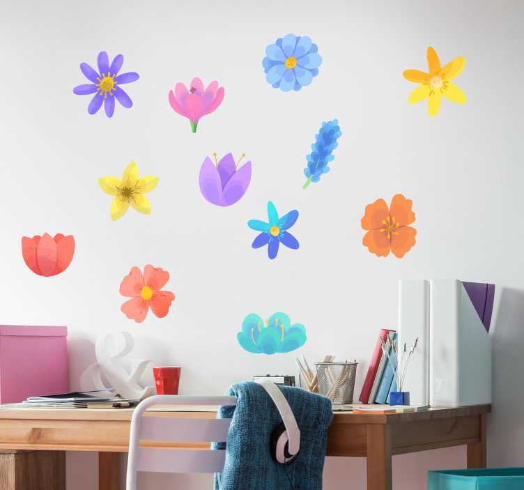 Tenstickers. Kevätkukka asettaa kukka seinä tarra. Koristeellinen kevään kukka seinämaalaustarra, joka on suunniteltu kauniissa väreissä ja tyylikuvioissa. Helppo levittää, liimautuva ja saatavana erikokoisina.