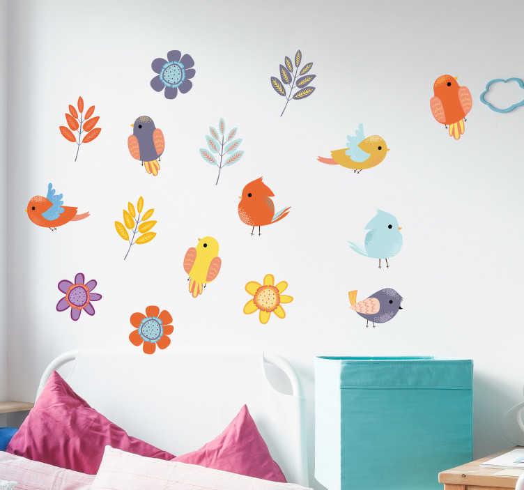 TenStickers. Naklejka na ścianę Ilustracja ptaki i kwiaty. Nie wiesz jak udekorować pokój dzieci? Sprawdź nasze kolorowe naklejki na ścianę ptaki i rośliny. Naklejka na każdą gładką powierzchnię!