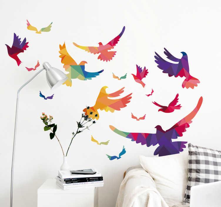 TenStickers. Sticker Maison Oiseaux Colorés. Vous voulez un sticker mural animal pour célébrer le printemps qui arrive à grands pas ? Ce sticker d'oiseaux en vol sera parfait pour vous !