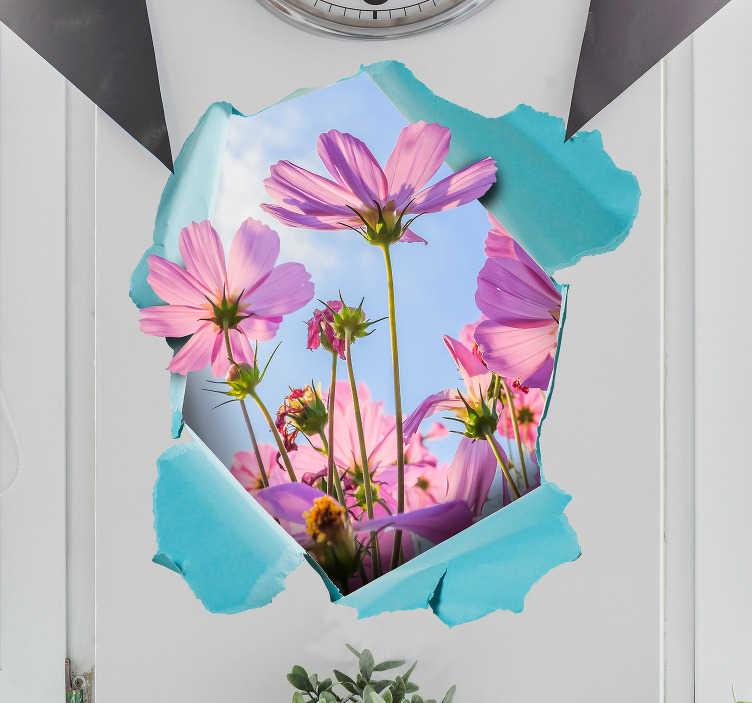 TenStickers. Fototapeta Kwiaty na ścianie 3D. Poszukujesz ciekawej dekoracji do domu? Ozdoby na ścianę do salonu w jako naklejki ścienne 3D kwiaty to świetny pomysł na spersonalizowane dekoracje.
