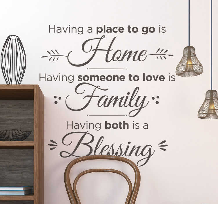 TenStickers. Blessing Living Room Wall Decor. Decorate your home with this superb piece of motivational text decor, reminding you that home and family are always a blessing!