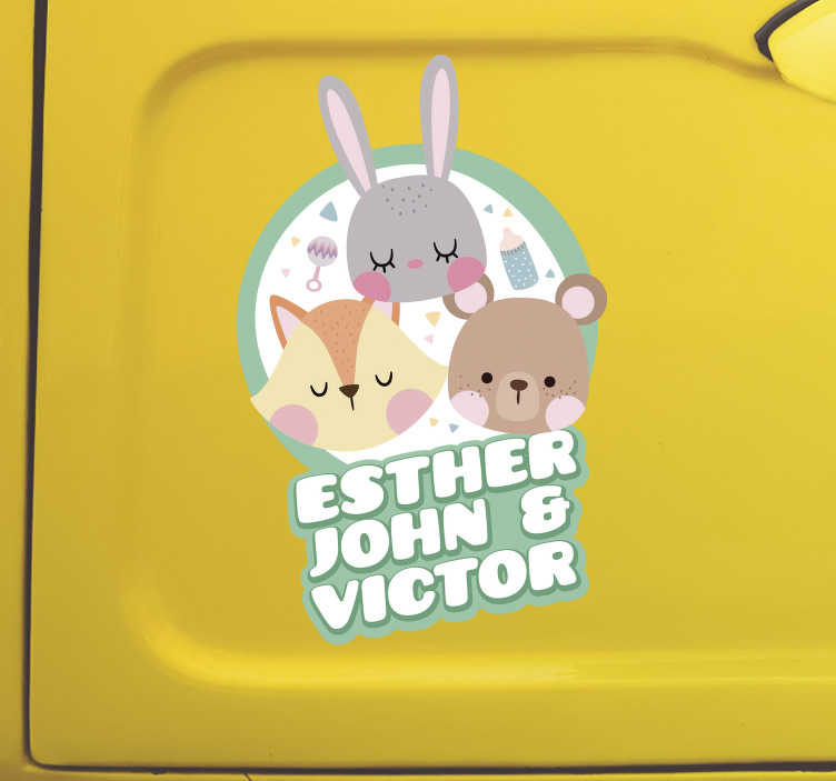 TenStickers. Animals with Names Baby on Board Sticker. Raise awareness of the fact that you have babies on board, with this fantastic customisable baby on board sticker! Available in 50 colours.