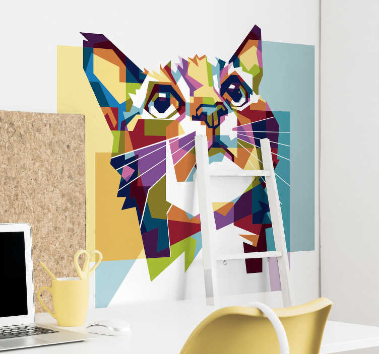 TenStickers. Colorful Cat  wall decal. Colorful cat wall art sticker  made of geometric abstract design. Easy to apply, self adhesive and available in different sizes