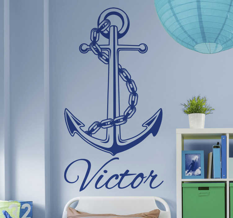 TenStickers. Anchor with Name Personalised Sticker. Decorate your home with a stunning anchor thanks to this fantastic - customisable - nautical themed wall sticker! Discounts available.