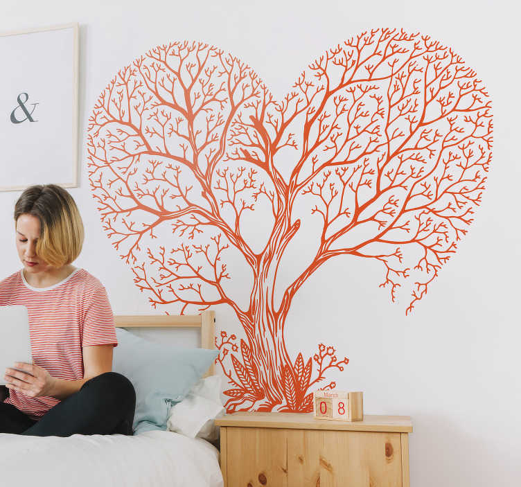 TenStickers. tree heart tree wall decal. An original tree wall art sticker design of a large tree in a heart shape. Available in different colours options. Easy to apply and adhesive.