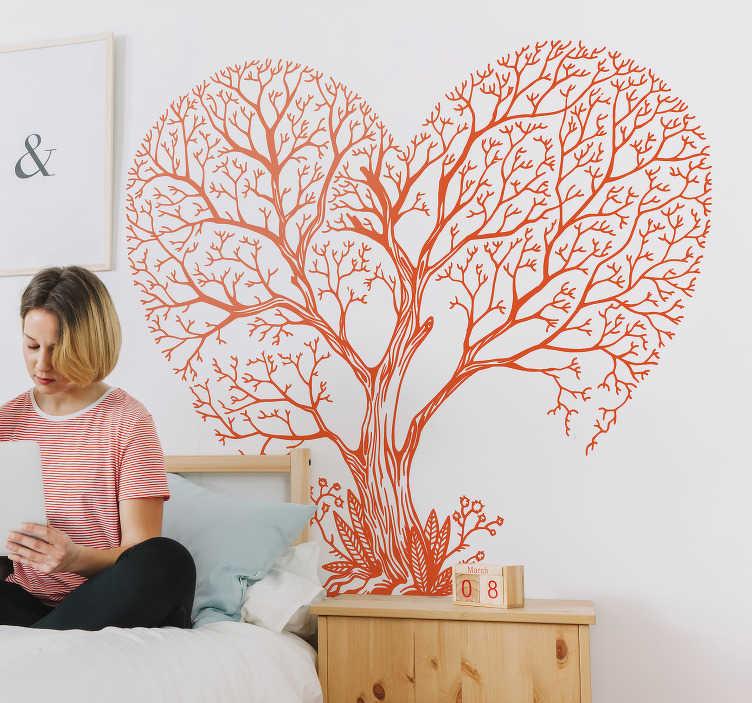 TenStickers. Sticker Maison Arbre en forme de coeur. Cet autocollant dessin représente un arbre sous la forme d'un coeur dont les bords sont faits de ses branchages, pour un rendu poétique et zen !