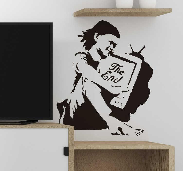 TenStickers. Naklejka z rysunkiem Dziewczynka z telewizorem. Poszukujesz oryginalnej i niestandardowej dekoracji do domu? Ozdoby na ścianę do salonu urban to świetny pomysł na dekorację.