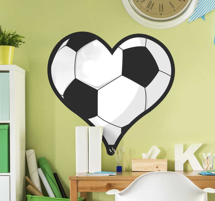 TenStickers. heart football sticker. Football wall sticker designed in the shape of a heart. Ideal for the bedroom of teens. Easy to apply and available in different sizes.