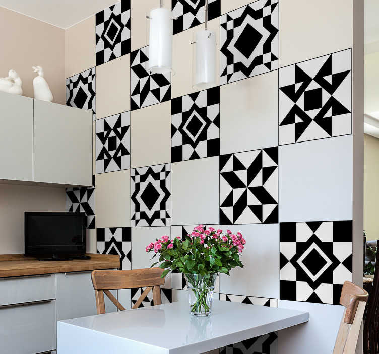 TenStickers. Geometric tile transfer. Beautiful geometric tiles decal to decorate the home wall space in style. An ideal decoration for a kitchen and bathroom.Easy to apply and waterproof.