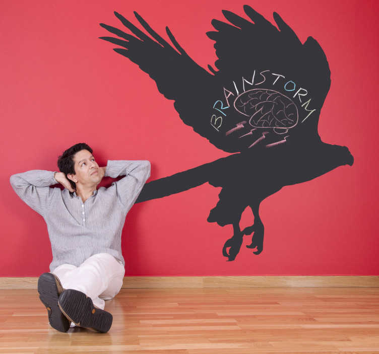 Adesivo murale lavagna silhouette aquila