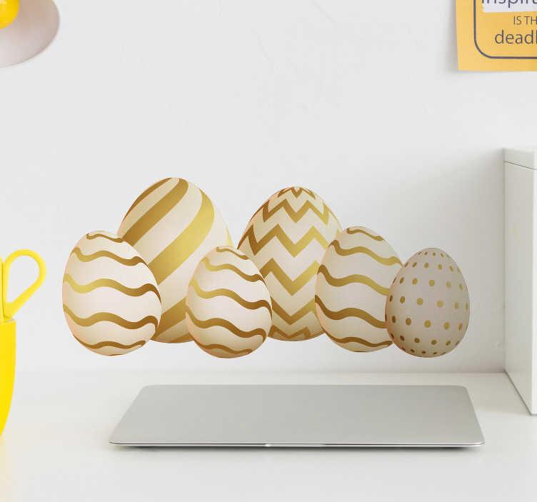 TenStickers. Sticker Chambre Enfant Oeufs Pâques Dorés. Pour Pâques, et si vous décoriez vos murs avec de magnifiques couleurs dorées ? Ce sticker êvénement sera idéal pour les vacances de Printemps
