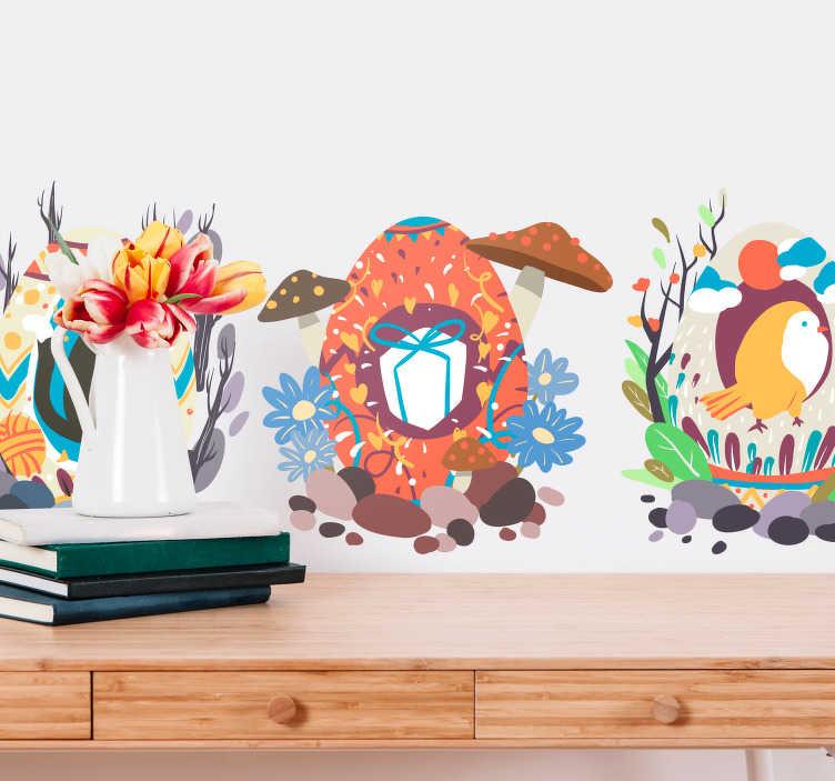 TenStickers. Naklejka ścienna Ilustracja wzorzyste pisanki. Chcesz posiadać oryginalne dekoracje w Twoim sklepie lub domu na czas Wielkanocy? Sprawdź nasze naklejki wielkanocne z pisankami. Ceny już od 8,75 zł!