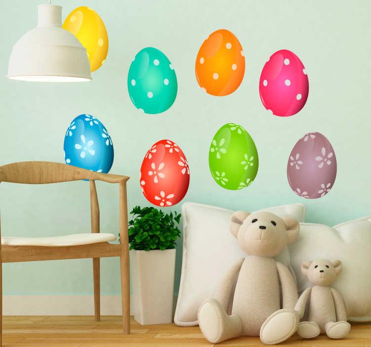 TenStickers. Sticker Chambre Enfant Oeufs de Pâques. Décorez votre intérieur de façon originale avec cet autocollant d'êvénement composé de plusieurs oeufs de Pâques colorés