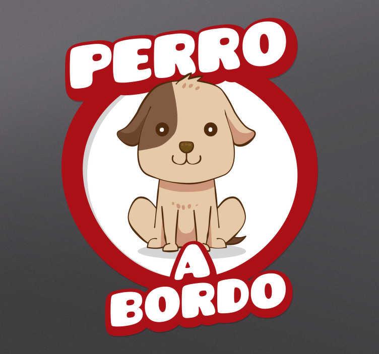 TenVinilo. Vinilo para coche perro a bordo con mascota. Pegatina de perro a bordo para coche o auto con dibujo de perro con el que podrás advertir de forma simpática a conductores ¡Envío a domicilio!