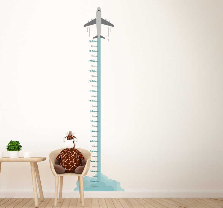 TenStickers. Plane Height Chart Wall Sticker. Watch your child grow continuously through this fantastic airplane themed height chart wall sticker! +10,000 satisfied customers.