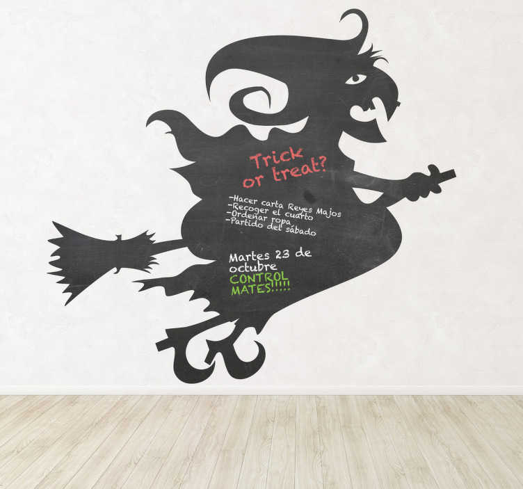 TenStickers. Witch and Broom Blackboard Sticker. Blackboard Stickers;Silhouette illustration of a witch flying on her broom. Slate sticker design ideal for decorating any room