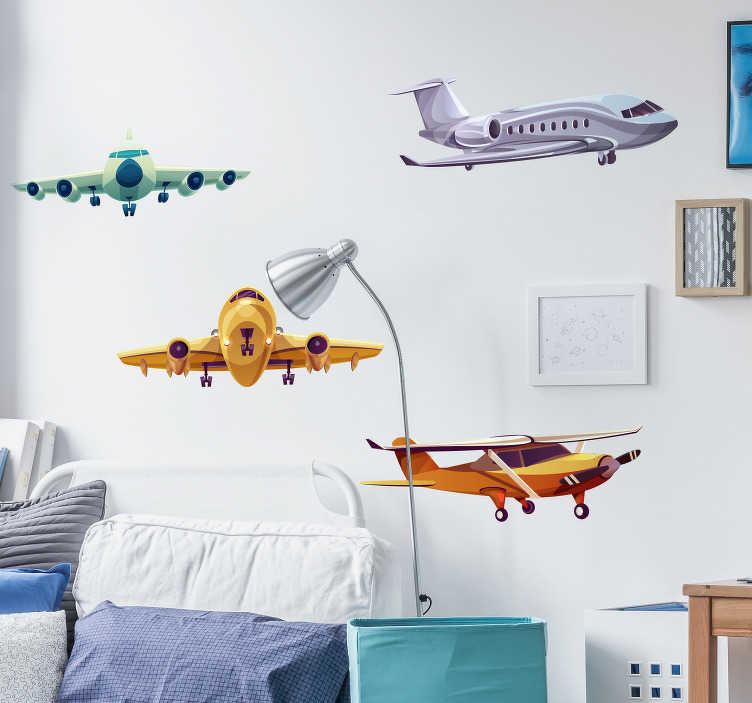 TenStickers. Group of Planes Kids Wall Stickers. Add some airplanes to your bedroom with this fantastic piece of bedroom decor, depicting planes flying high! Zero residue upon removal.