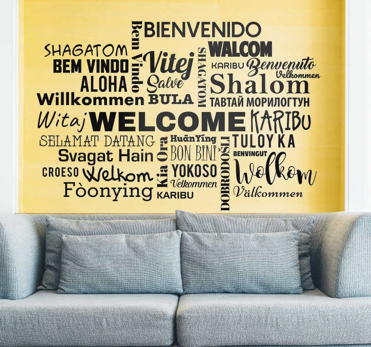 TenStickers. Multilingual Languages Living Room Wall Decor. Decorate your living room with this fantastically welcoming home sticker, depicting numerous greetings from various languages!