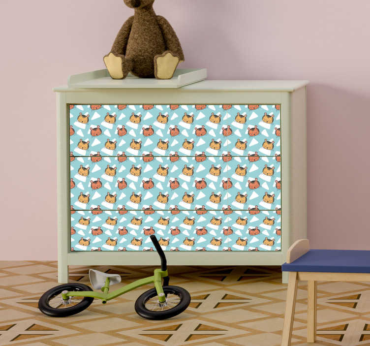 TenStickers. tigers pattern furniture decal. Tiger patterned furniture sticker to wrap the surface of the furniture in kids space. Easy to apply and available in any required size.