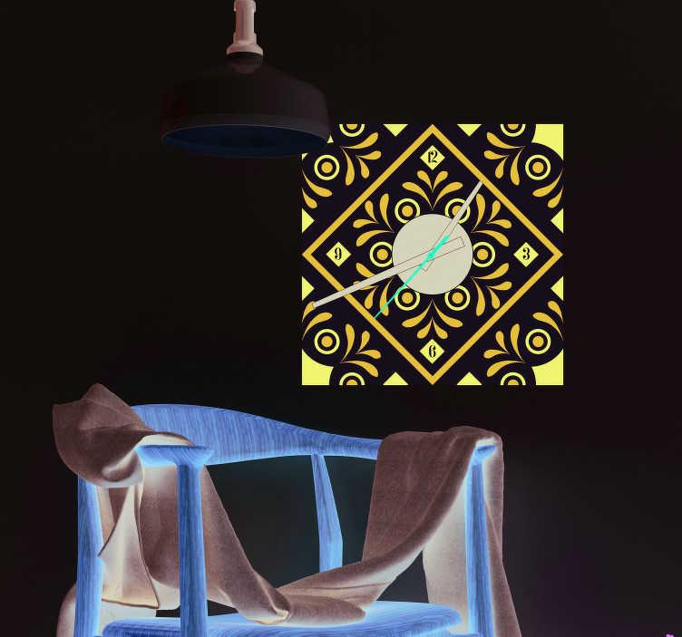 TenStickers. Sticker klok Klok sticker delfts blauw. Traditionele muursticker: Sticker klok delfts blauw ontwerp! Deze delfts blauw klok sticker is ideaal voor de woonkamer Muursticker delfts blauw!