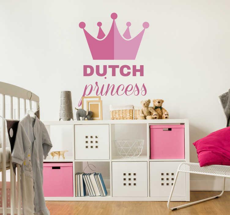TenStickers. Muurstickers tekst Dutch princess crown. Leuke roze prinses stickerof leuke kroon muursticker voor de kinderkamer! Nederlandse prinses sticker of tekst sticker prinses is leuk voor kinderen!