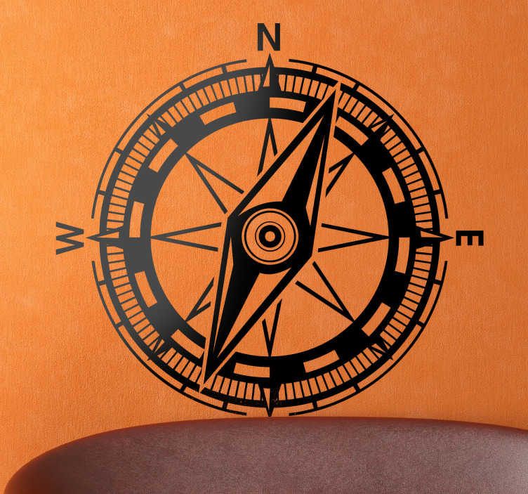TenStickers. Geographic Compass Wall Sticker. Room Stickers - Decal design of a compass. Ideal for adding a unique  touch to your home.