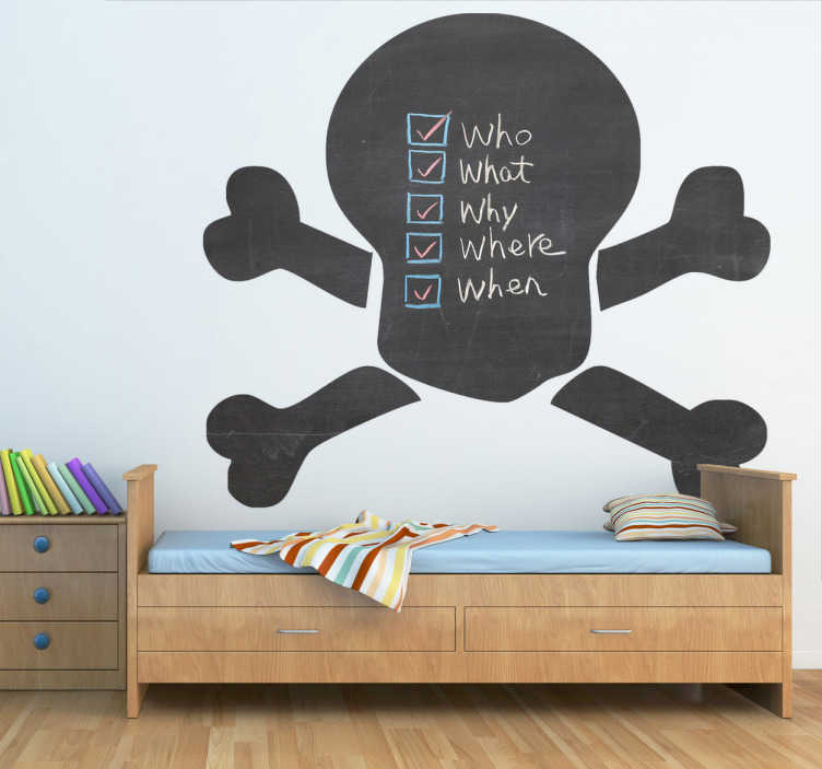 TenStickers. Skull Blackboard Sticker. A superb design of a blackboard skull that is part of the pirate wall stickers collection. Ideal for the little ones at home. Suitable for all ages.