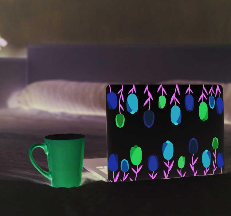 TenStickers. Autocolante para PC tulipas. Vinil autocolante com plantas e flores ideal para decorar o seu laptop da melhor forma e muito original. Fácil de aplicar.