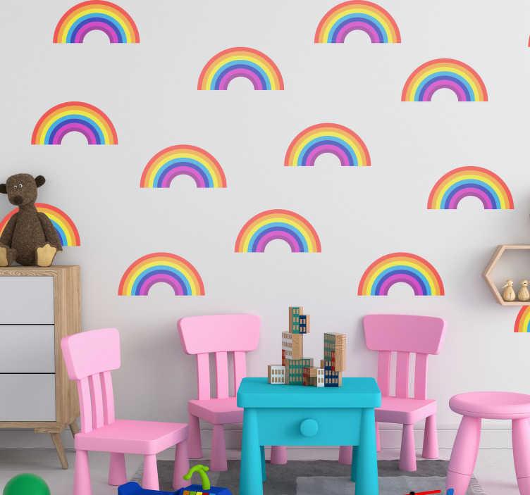 TenStickers. Muurstickers kinderkamer regenboogjes. Kleurrijke regenboog muursticker design: Regenboog sticker en andere regenboog muurdecoratie geschikt voor babykamer muursticker regenboog!