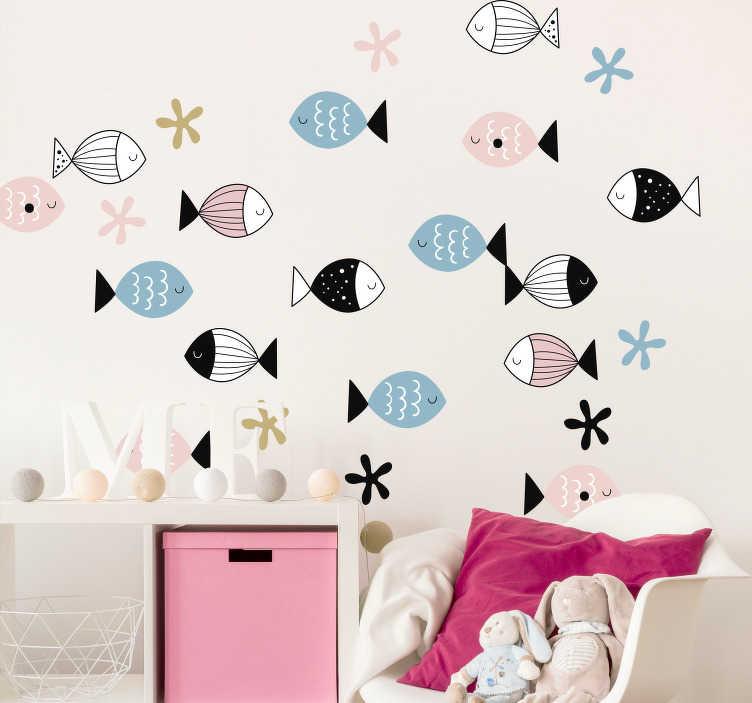 TenStickers. Naklejka z rysunkiem Kolorowe rybki ażurowe. Nie wiesz jak udekorować swój pokój młodzieżowy? Sprawdź nasze naklejki ze zwierzętami i naklejki tygrys. Nasi graficy pomogą Ci z projektem!