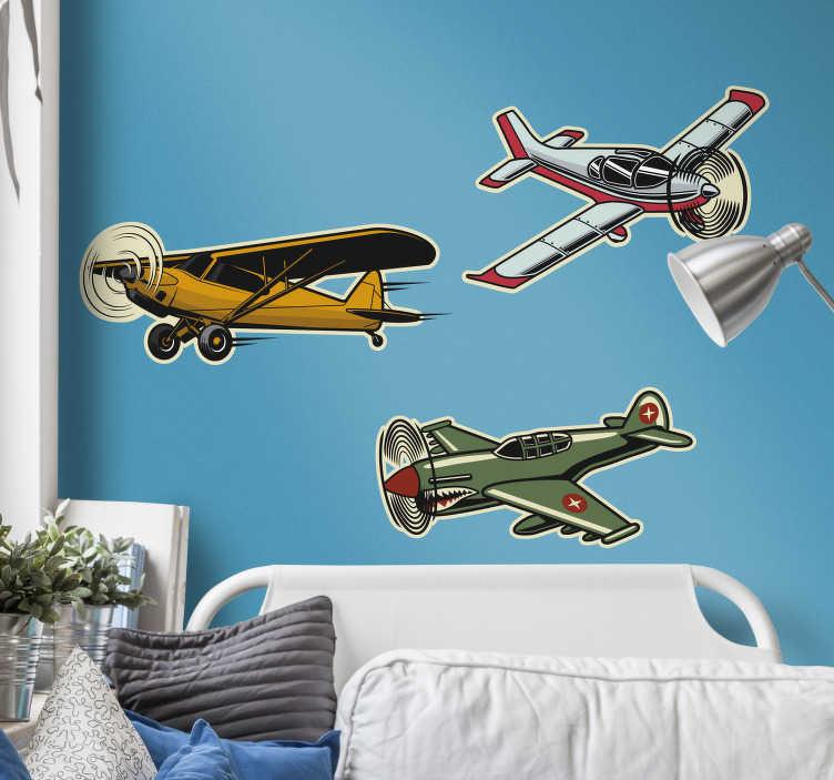 TenStickers. Muurstickers kinderkamer vliegtuigjes. Vliegtuigen muurstickers, voor de kinderkamer:  vliegtuig sticker, sticker vliegtuig, vliegtuig muursticker, een leuk verjaardagscadeau!