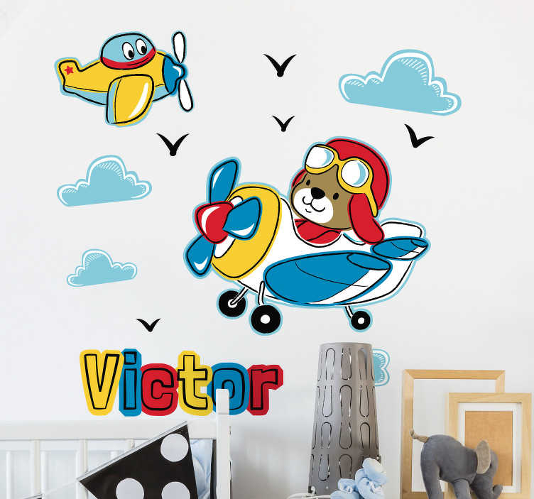 TenStickers. Planes Customisable Wall Sticker. Pay tribute to the magnificence of planes with this fantastic - and customisable - plane themed wall sticker! Zero residue upon removal.