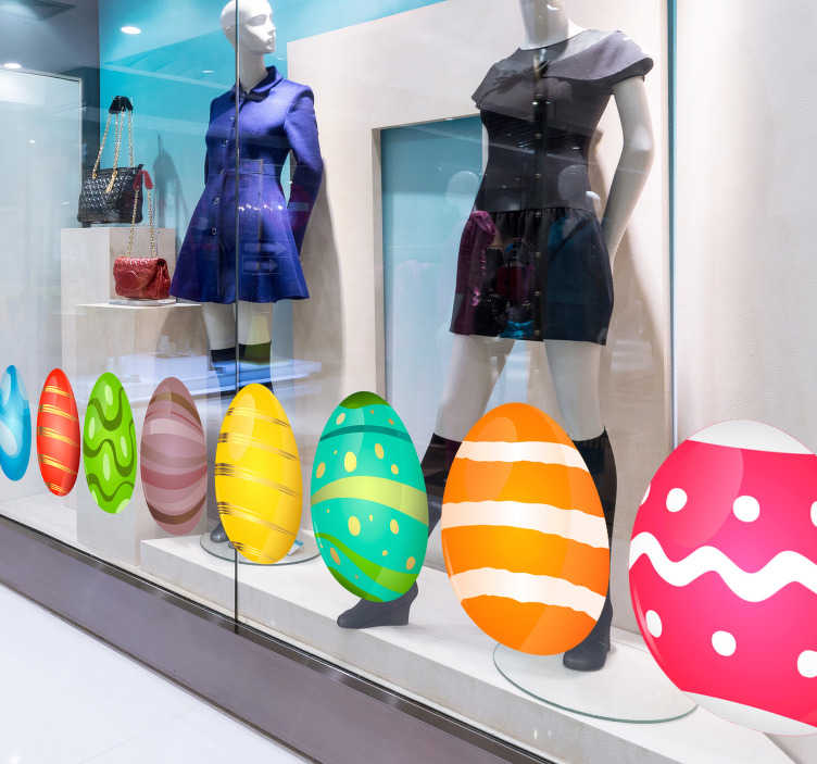 TenStickers. Easter Eggs Shop Window Sticker. Get ready for Easter with this fantastic collection of shop window stickers, depicting a collection Easter eggs! Personalised stickers.