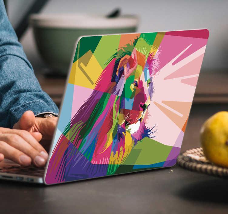 TenStickers. Löwe Kaleidoskop Notebook Aufkleber. Zollen Sie der Großartigkeit des bescheidenen Löwen mit diesem fantastischen tierischen Laptopaufkleber Tribut! +10.000 zufriedene Kunden.
