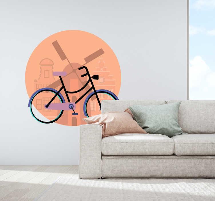 TenStickers. Muurstickers woonkamer Fiets en Windmolen. Traditionele Nederland stickers en Nederland muurstickers zoals fiets muurstickers en windmolen muurstickers voor een tradtioneel Nederlands huis!
