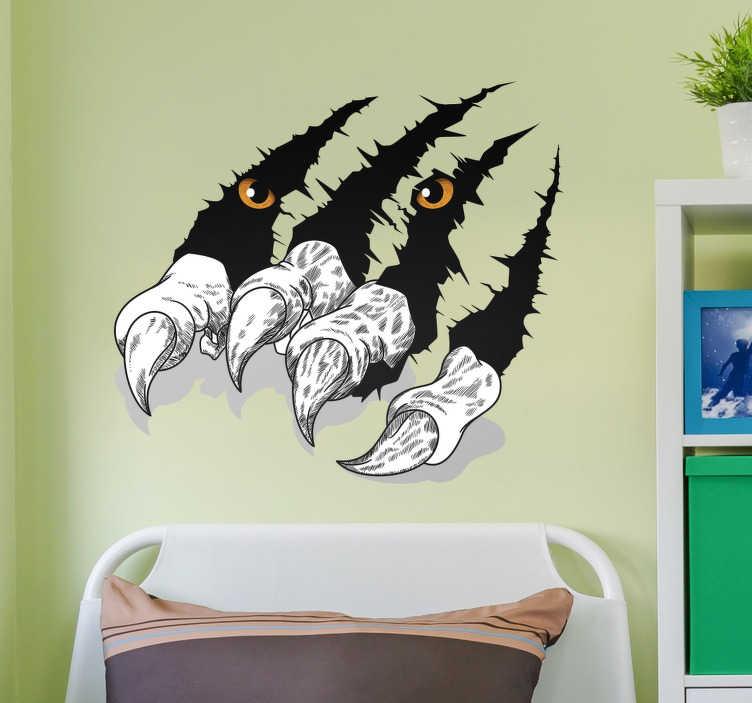 TenStickers. 老虎的爪子汽车贴纸. 我们的动物墙贴花是装饰内饰的好主意!动物贴花显示一只老虎的锋利爪子突破了墙壁。