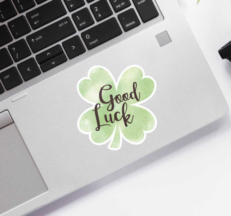 TenStickers. Good Luck Clover Laptop Sticker. Decorate your laptop with this fantastic clover themed laptop sticker, perfect for bringing luck in difficult times! Discounts available.