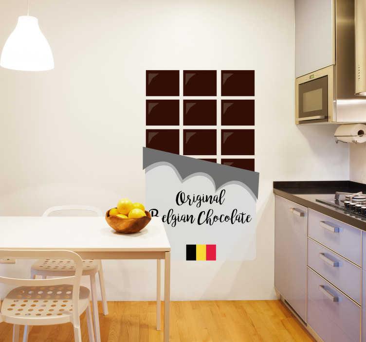 TenStickers. Sticker Entreprise Chocolat Belge. Le chocolat belge est sans conteste le meilleur chocolat du monde, montrez-le grâce à cet autocollant mural dessin de tablette de chocolat !