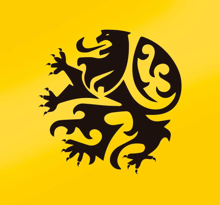 TenStickers. Sticker Mural Logo Lion. Laissez ce lion féroce aux couleurs de la Belgique embellir les murs de votre intérieur grâce à cet autocollant mural dessin !