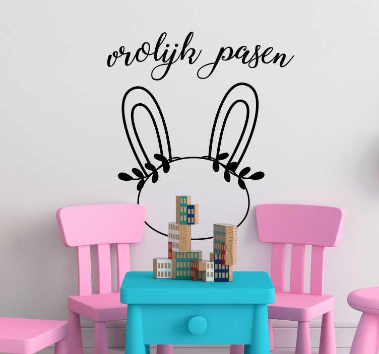 TenStickers. Feestdagen stickers Vrolijk pasen konijntje. Vrolijk pasen konijn sticker, alles kan! Vrolijk pasen etalage sticker, Winkelruit pasen sticker of vrolijk pasen raamsticker en pasen stickers!