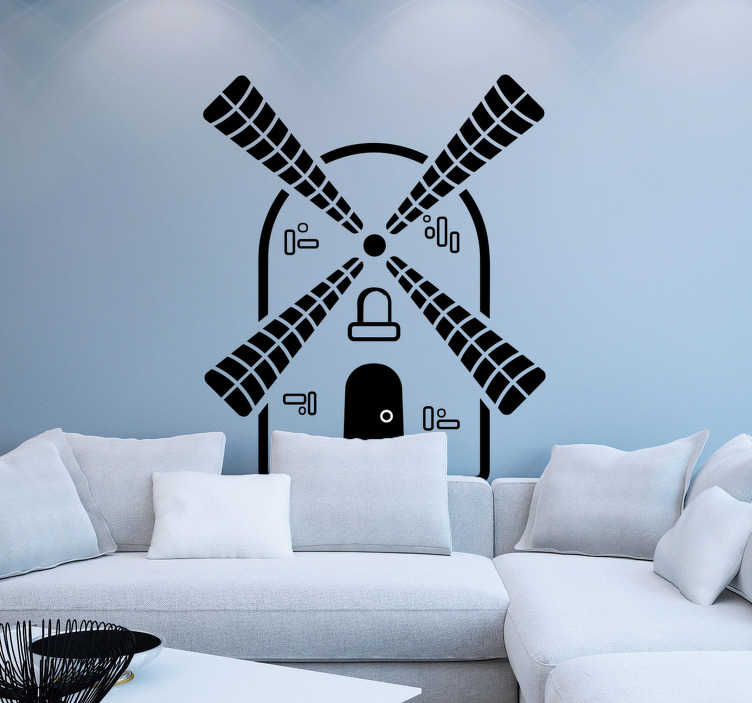 TenStickers. Muurstickers woonkamer zwarte windmolen. Zwarte windmolen muursticker voor de woonkamer, gezellig! Windmolen wandstickers en molen stickers: typische traditionele Nederland sticker!