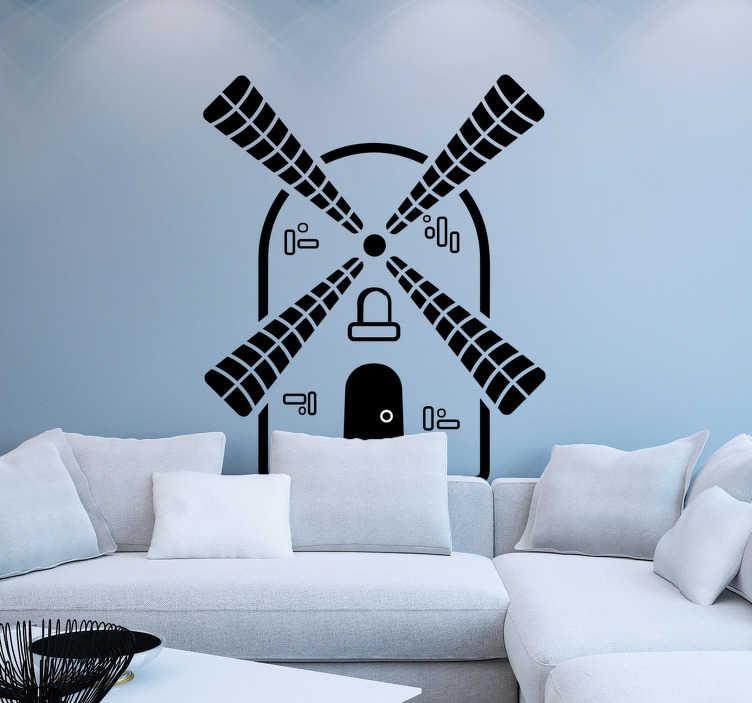 TenStickers. Muurstickers woonkamer zwarte windmolen. Zwarte windmolen muursticker voor de woonkamer, gezellig! Windmolen wandstickers en molen stickers: typische traditionele Nederland sticker!