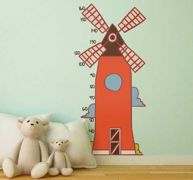 TenStickers. Muurstickers kinderkamer windmolen kinderkamer. Leuke windmolen muursticker voor kinder slaapkamer, hoe leuk is dat! Windmolen wandstickers en molenstickers: typsiche traditionele Nederland sticker!