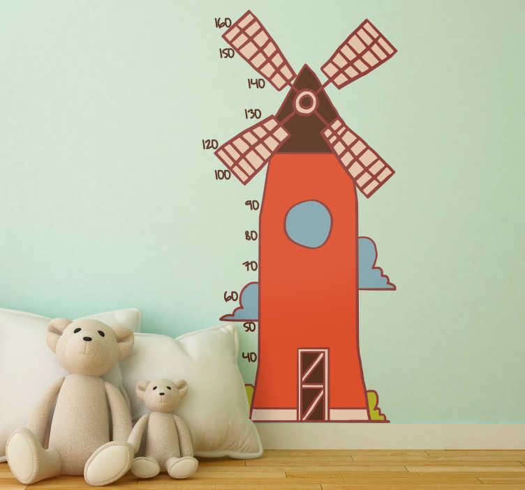 TenStickers. Autocolante medidor de altura moinho infantil. Autocolante decorativos infantis com desenhos para decorar as paredes dos quartos dos seus filhos. Dê um novo toque às suas paredes!