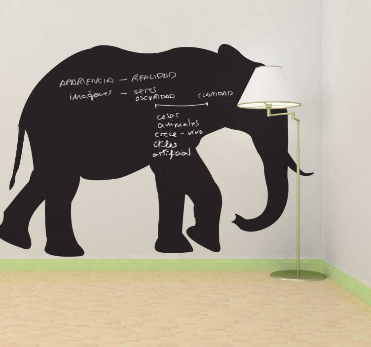TenStickers. Elephant Chalkboard Wall Sticker. An original silhouette from our collection ofelephant wall stickers that is also a chalkboard!  Can be used as a wall sticker for a schools or nurseries.